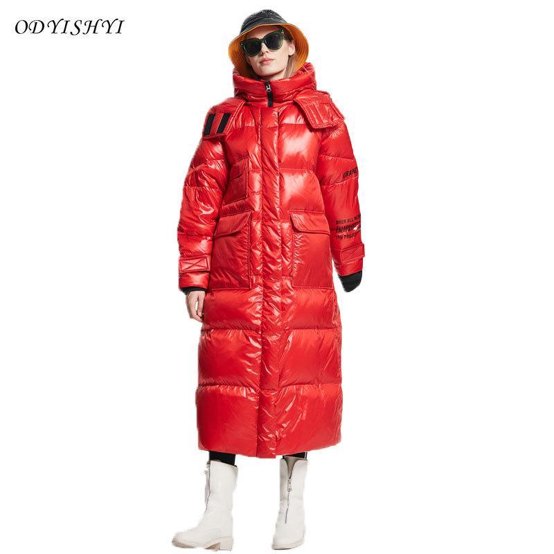 2020 Новый зимний снег Coat Женщины ветровки 90% белая утка вниз Большой размер Сыпучие X-долго перо пальто Женский Puffer Jacket 247