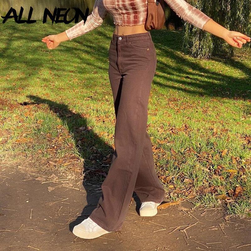 Allneon Indie estetiği Yüksek Bel Geniş-Bacak Kahverengi Kot Y2K Streetwear Denim Baggy Pantolon 90 S Moda Düz Pantolon Bahar C0115