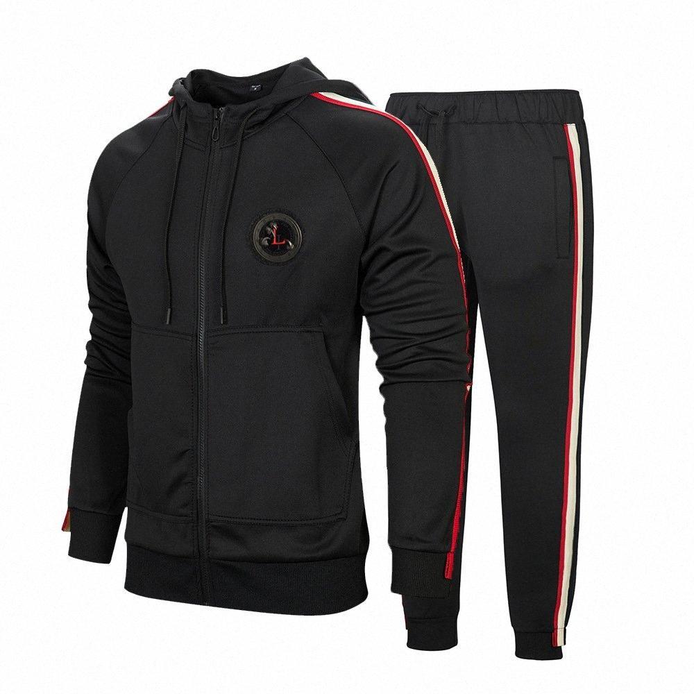 Hommes Survêtement Automne Zipper Imprimer Hoodies Pantalons Ensembles Sport Suit Survêtement avec 3 couleurs EUR Taille S-2XL M74L #