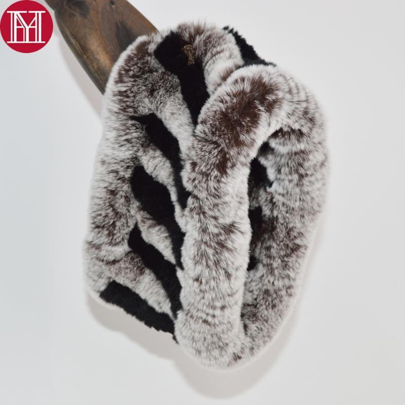 2020 Femmes chaudes Real Rex Farfe Foulard tricoté Real Real Rex Fourrure Bandeau Fille Fille Touche Soft 100% Ring Écharpes
