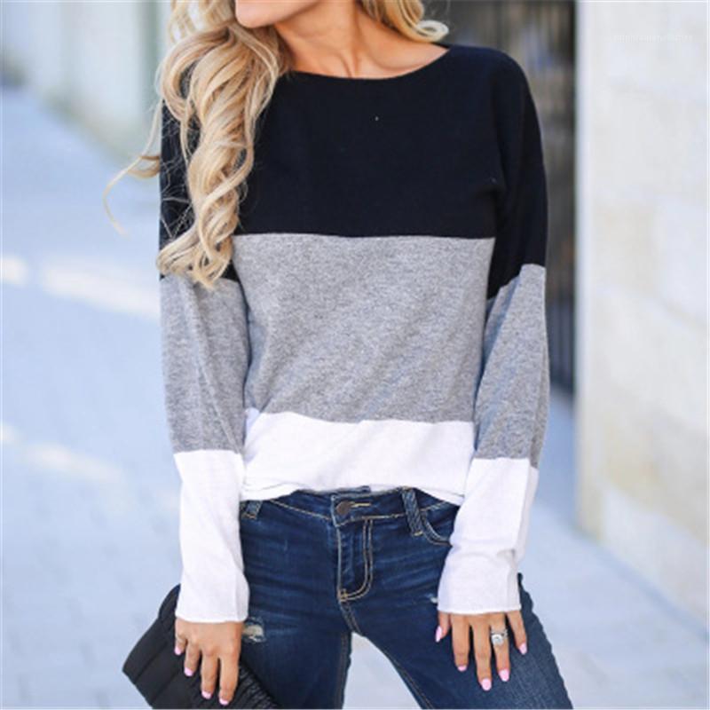 Cuello de manga larga tes de las tapas flojas diseñador Nueva Mujer ropa camiseta ocasional de las mujeres con paneles manera de la camiseta de tres colores de contraste Ronda