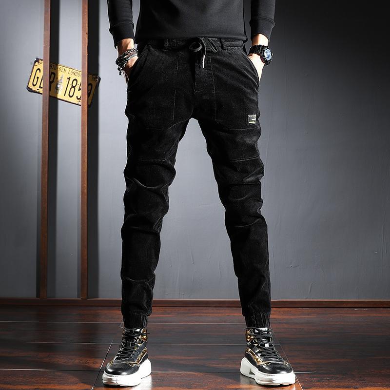 2021 New Autumn Newly Fashion Men Jeans Elastic Waist Casual Corduroy Cargo Pants Vintage Designer Streetwear Hip Hop Joggers Trousers X1gu
