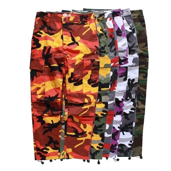 Calças ICPANS Carga Homens corredores Corpo Inteiro Cotton Pockets Pant laranja Casual Red Rosa Roxo Camo Calças masculinas Streetwear Calças 1114