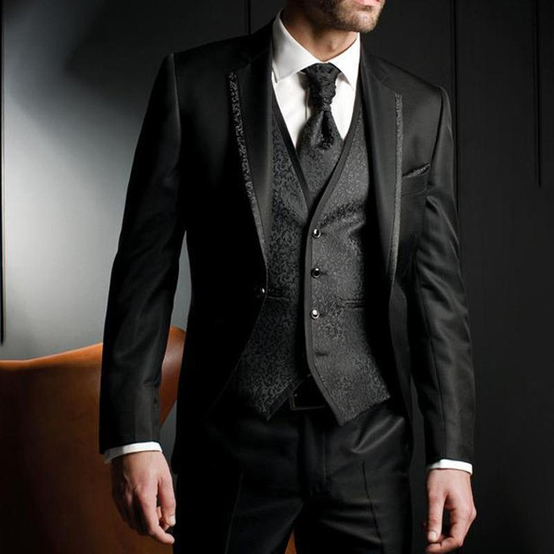 Men's Suits & Blazers Floral Slim Fit Wedding Tuxedo For Groom 3 Piece Man Fashion Jacket Waistcoat With Pants Notched Lapel Male Costume Co