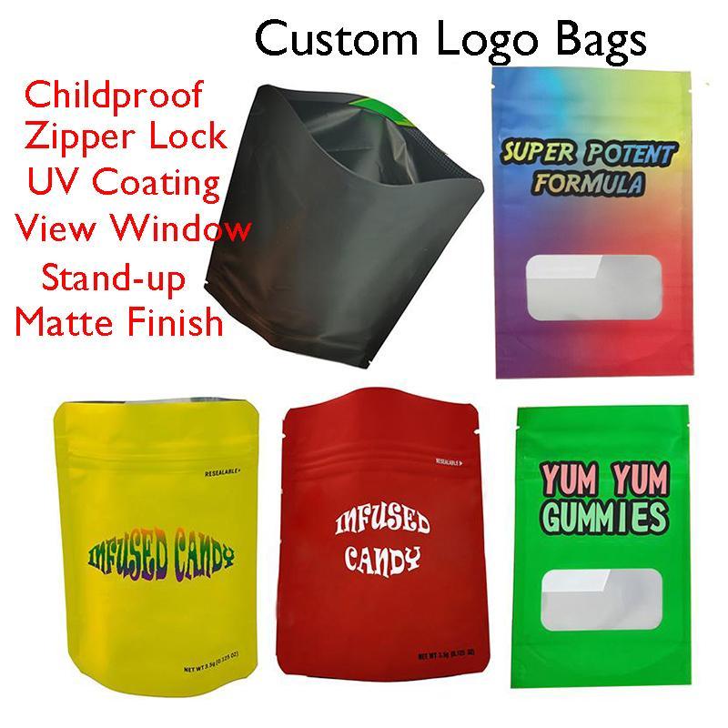 Mylar Sacos Zipper Personalizado Saco de Embalagem Edibles Varejo Childproof Bloqueio de Zip Matéria Acabamento Personalizado Logotipo Doces Flores Candy Bolsa De Zíper Vazio