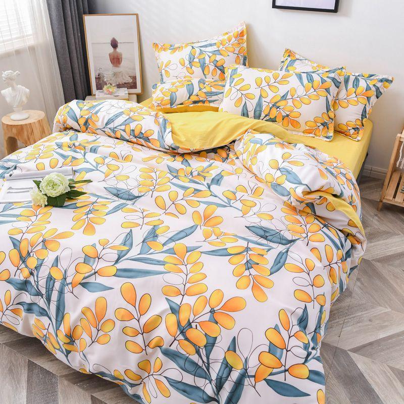 Новый цветочный постельное белье набор 4 шт. Плоский лист + одеяло чехол персик ромашка постельное белье набор наволочки пастырский стиль постельное белье зеленая осень 20110
