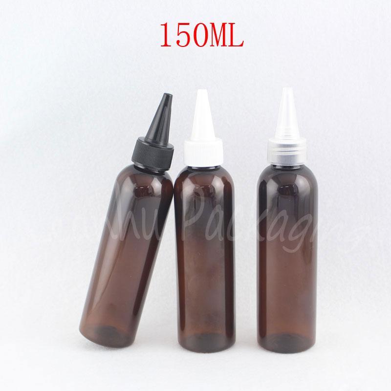 150ML Brown Runde Schulter-Plastikflasche Spitzmund Cap, 150CC Jam / Kosmetik Wasser leeren Behälter