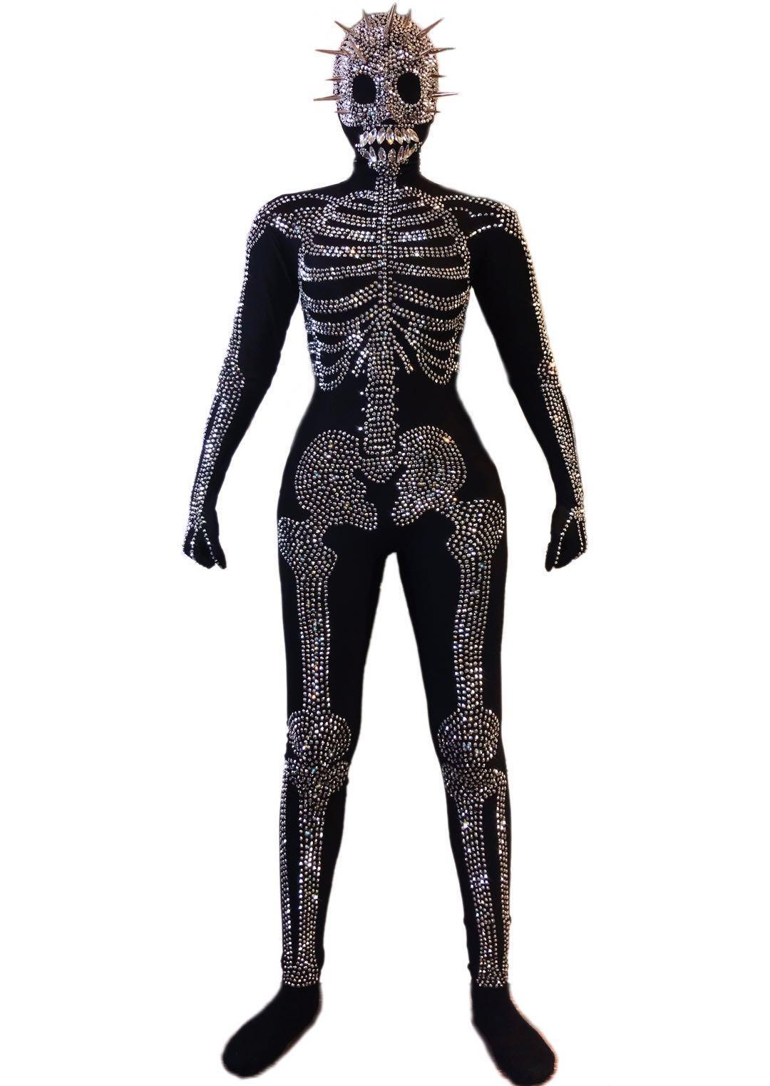 Halloween Party cosplay costume motif de crâne d'argent strass Spandex Skinny Jumpsuit Nightclub scène Jeu de rôle Porter des adultes Performance