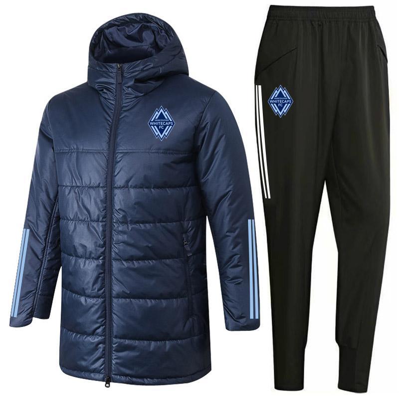 2020 Whitecaps capa chaquetas de algodón pantalones de cremallera kits traje de entrenamiento de fútbol con capucha rompevientos conjuntos de chándal de invierno Operando Conjuntos