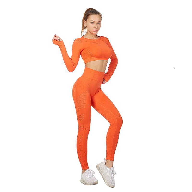 Femmes sans couture Gym 2 Piece Yoga Set Vêtements Leggings Fitness + manches longues Survêtement Active Wear Suit Sport