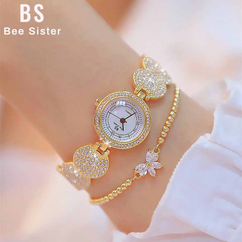 Donne orologi da donna al quarzo oro moda orologi da polso orologi diamantati in acciaio inox donne orologio da polso braccialetto wtach per ragazza 201120