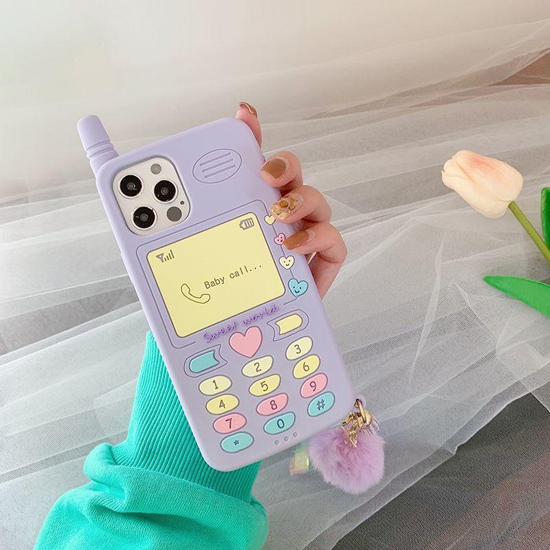 Caja linda del teléfono del regalo del niño de la muchacha del corazón del amor del amor de la muchacha para el iPhone 12 11 Pro Max Mini XR XSMAX 6 7 8 Plus SE 2020 Soft Silicone Shack Cubierta