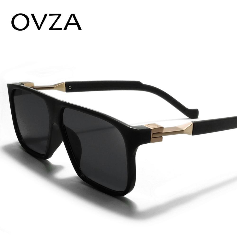 Óculos de sol de moda ovza para mens retângulo óculos de sol homens designer de marca retro vintage óculos preto s6095