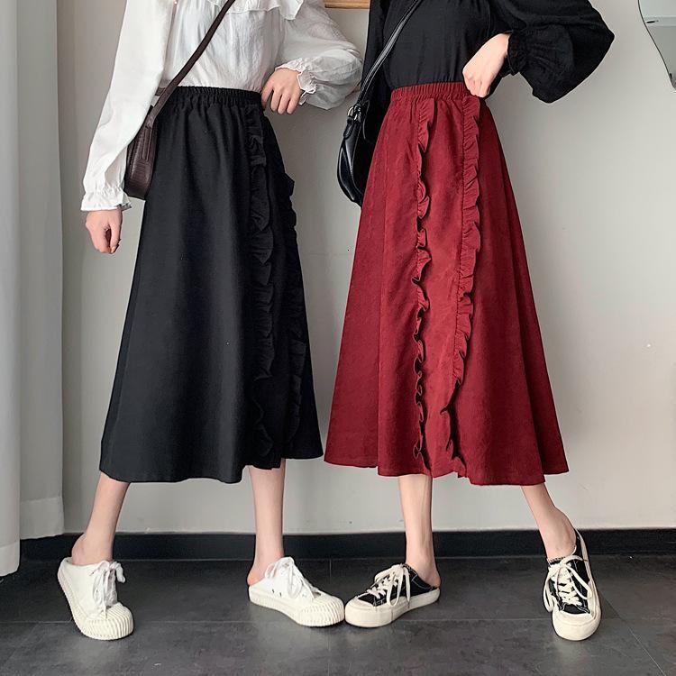 Средняя длина с Auriculia Auricula EE Новая весенняя вина Красная юбка для женщин 2021