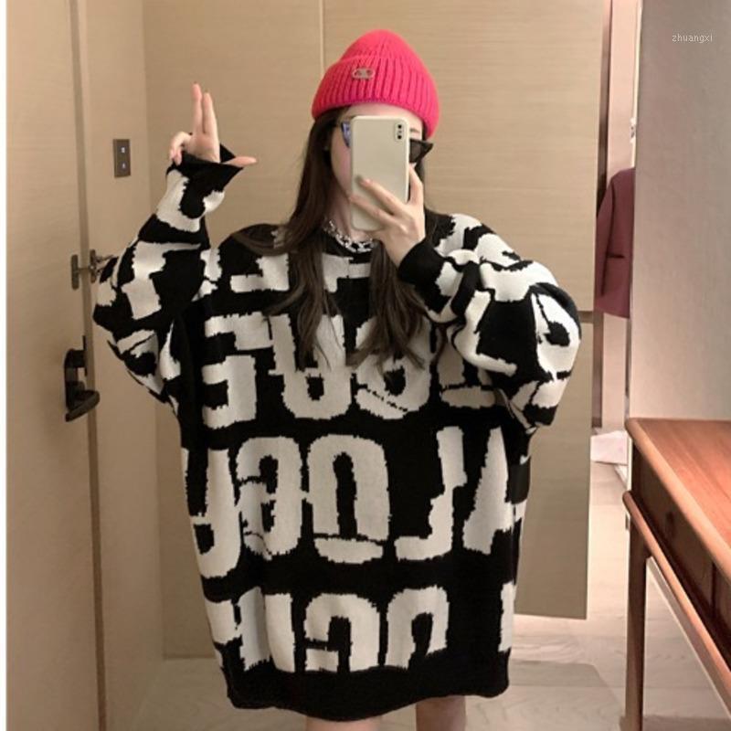 Lettera Jacquard Style Style Style Maglione per le donne Autunno / Inverno 2020 Nuovo Temperamento del collo rotondo sciolto Moda coreano lavorato a maglia Top1