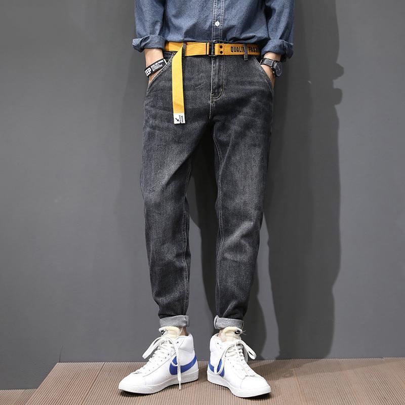Koreanische Art Mode Männer Jeans Hohe Qualität Vintage Schwarz Grau Lose Fit Denim Harem Hosen Streetwear Hip Hop Breite Beinhose