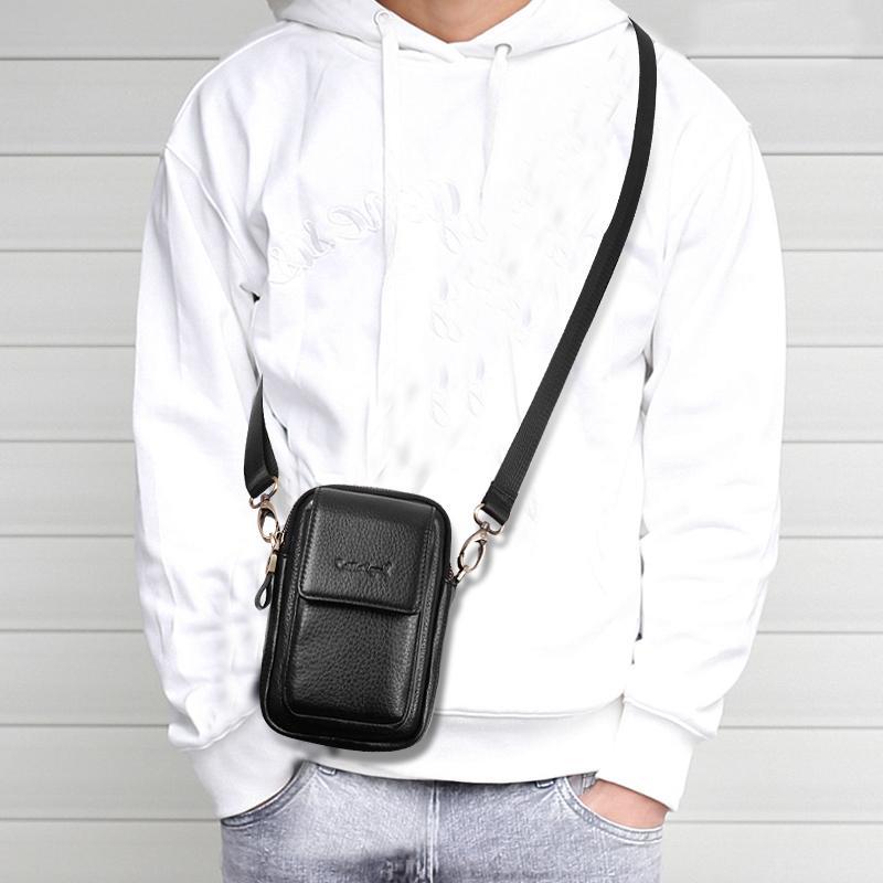 Borsa a tracolla in cuoio della legenda di Cobbler Borsa a tracolla in vera borsa in vera pelle Casual Black Business Mens Borsa a mano per telefono di alta qualità