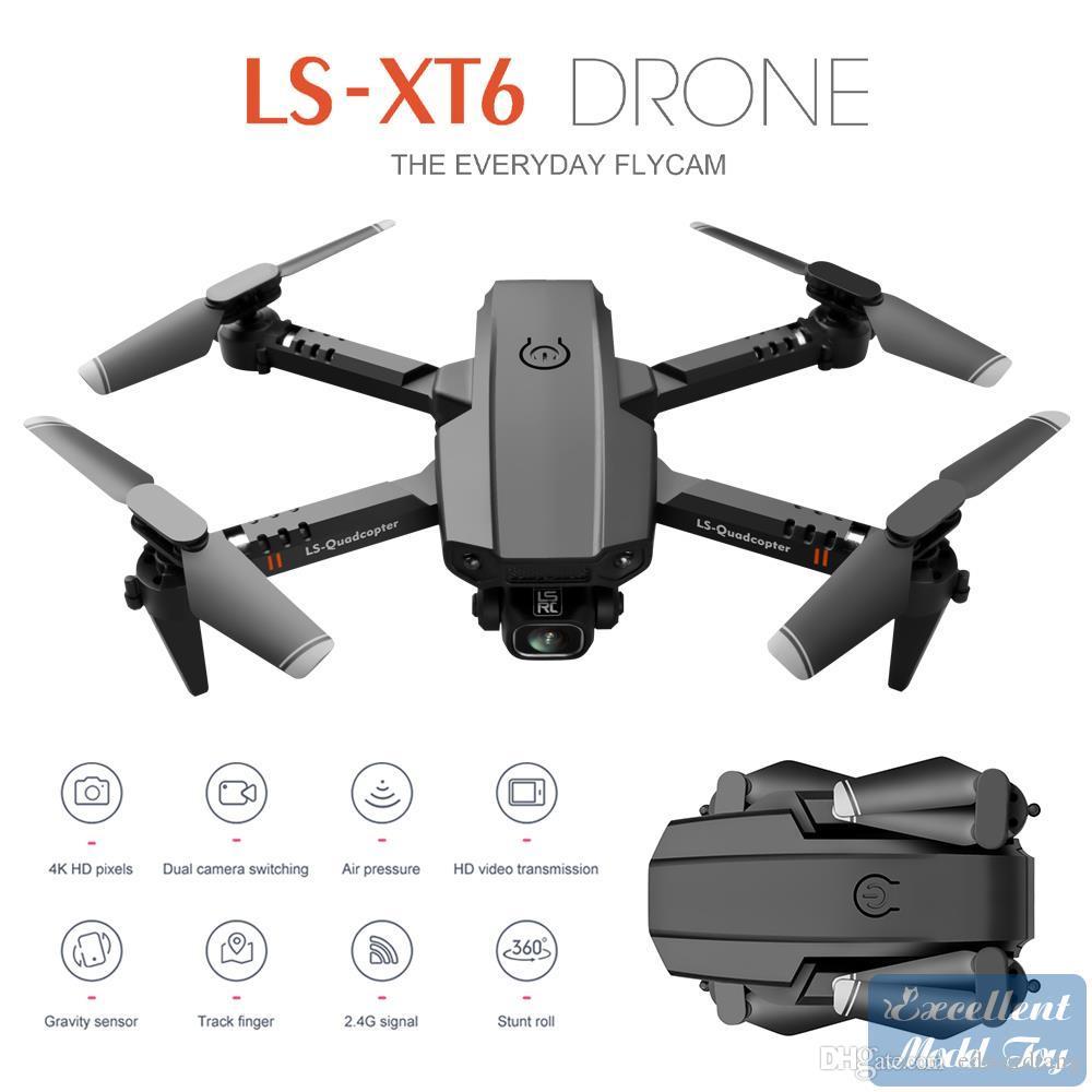 LS XT6 4K HD كاميرا مزدوجة الطائرات بدون طيار، FPV البسيطة المبتدئين لعبة UAV، محاكاة، رحلة تتبع، تحريض الجاذبية، التعليق، التقاط الصورة بواسطة لفتة، هدية طفل، 3-1