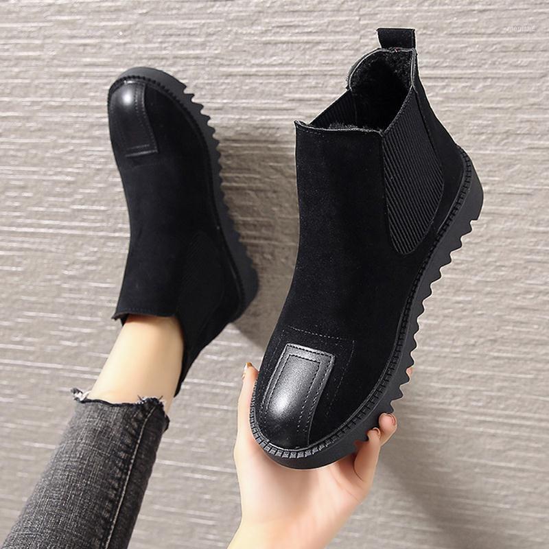 2021 Automne hiver NOUVEAUX Bottes Femmes Chaussures Femme Tube Bottes en coton Retro Short plus Velvet Femmes1