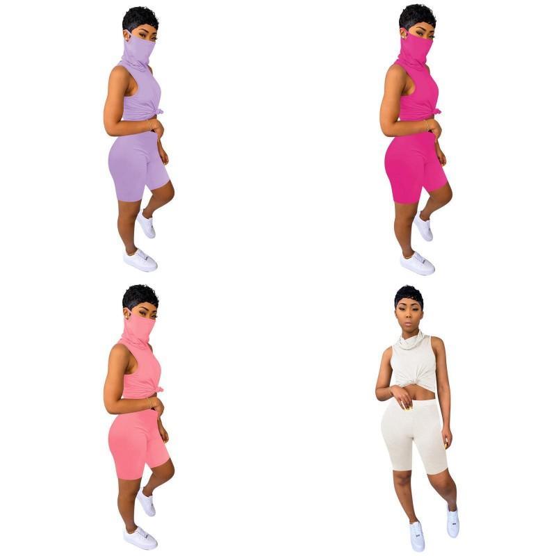 Shorts Trouser multicolour Pants Kit Vest Neck Gaither Suit Underwaist Face Mask Bib Set Mascarilla Washable Lady Tracksuits 26ys F2