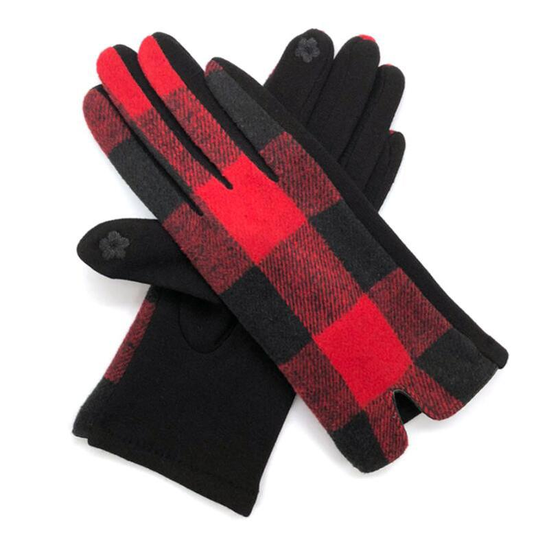 gant cachemire à carreaux chaud de carreaux automne hiver gants de laine pour femmes dame l'hiver gants de conduite Cadeaux de Noël mélanger les couleurs