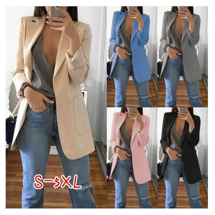 المرأة الخريف عارضة الحلل كم طويل معطف البدلة سليم سترة سترة أبلى الرسمية أنثى V الرقبة قمم جيب كبير