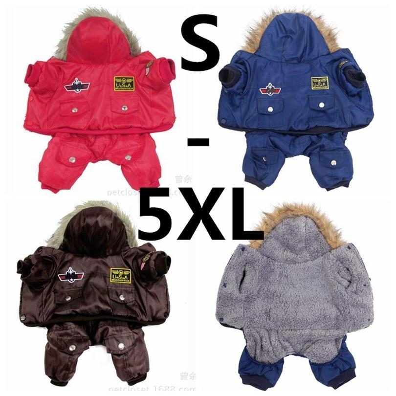 Quente inverno quente espesso para grande cão pequeno cão roupas acolchoado Hoodie macacão calças vestuário xs-5xl quente nova chegada frete grátis 201226