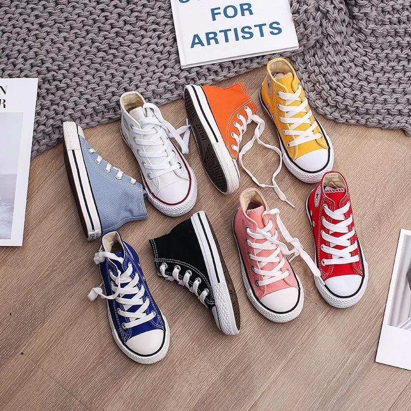 Frühling Herbst High Top Sneakers Mädchen Kind Schuhe 13 Farben Kleinkind Junge Turnschuhe Baby Kinder Leinwand Stern Sneakers Schuhe für Kinder 201118