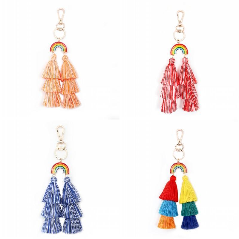 Bohemia ключевой пряжкой ручной радуга сплава хлопчатобумажная нить тазоны сумка кулонки украшения высокий модный ключ цепь 8 8 8JM K2B
