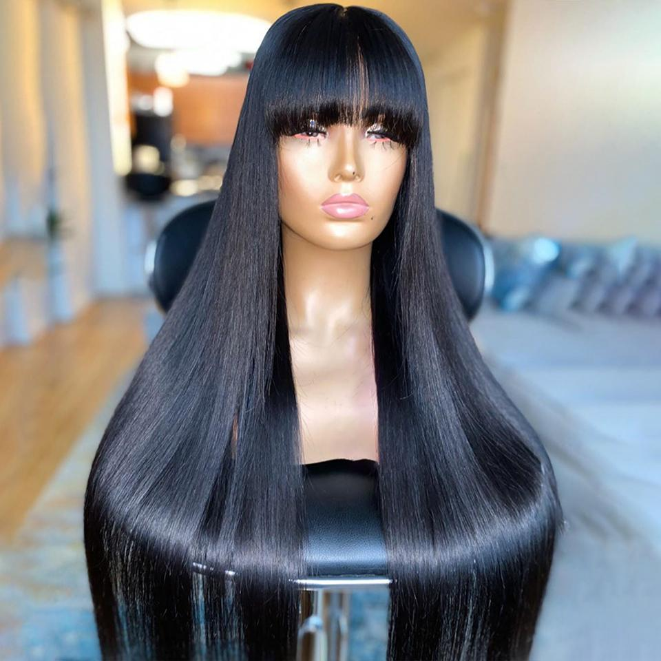 Ücretsiz kargo Brezilyalı 100% gerçek insan saç ipeksi düz patlama ile 5x5 '' ipek taban dantel ön peruk 130% -180% yoğunluk stokta