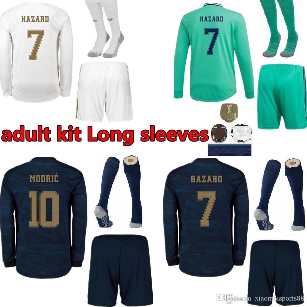 NCAA 2019 2020 Real Madrid Luva Full Home Futebol Jerseys 19 20 Hazard Away Kit Adulto Manga Longa Soccer Shirts Sergio Ramos Futebol Unifo