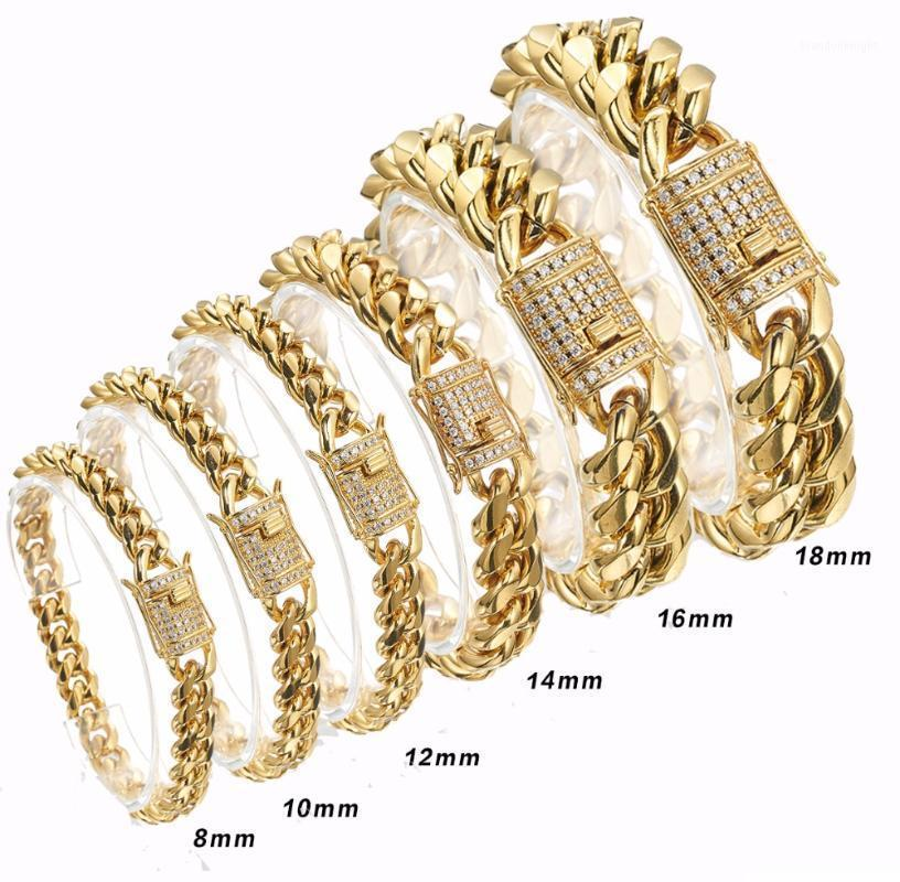 2020 New Arrival 8/10/12/14/16/18mm Stainless Steel Miami Curb Cuban Chain Crystal Bracelet Casting Lock Clasp Mens Link jewelry1