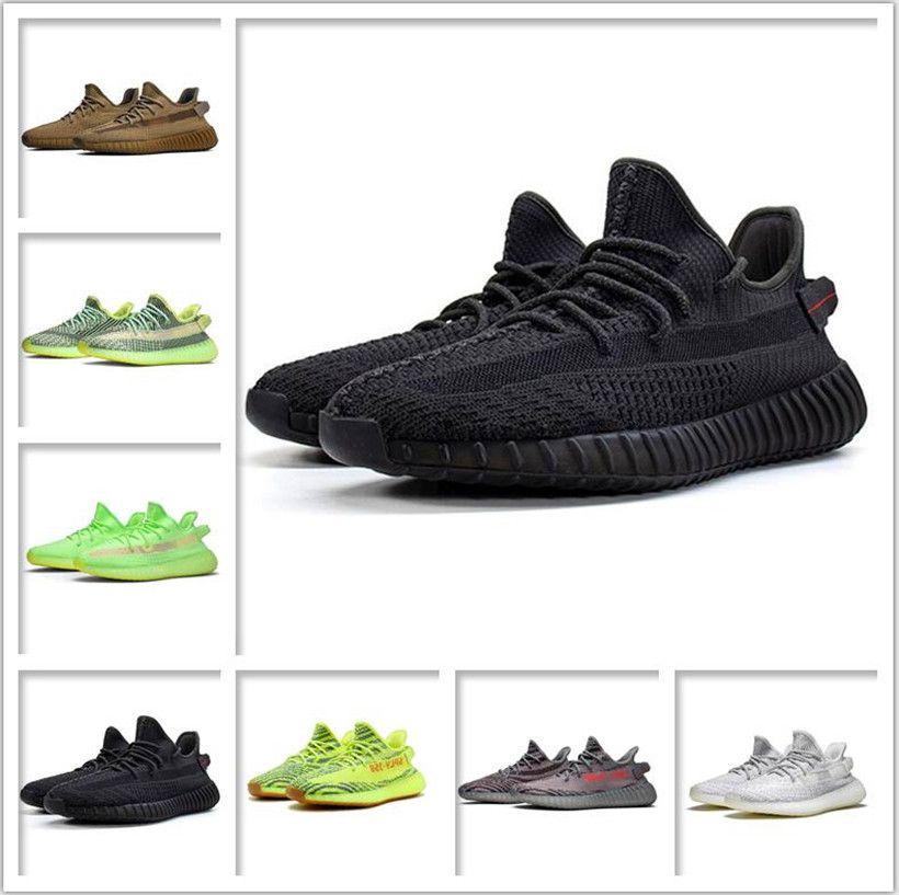 Chaussures de sport pour femmes 2021 Kanye West Ash-Bleu Chaussures Célèbre Best Marque Lumière Reflective Casual Sport Sneakers Champagne Chaussure Taille 36-4