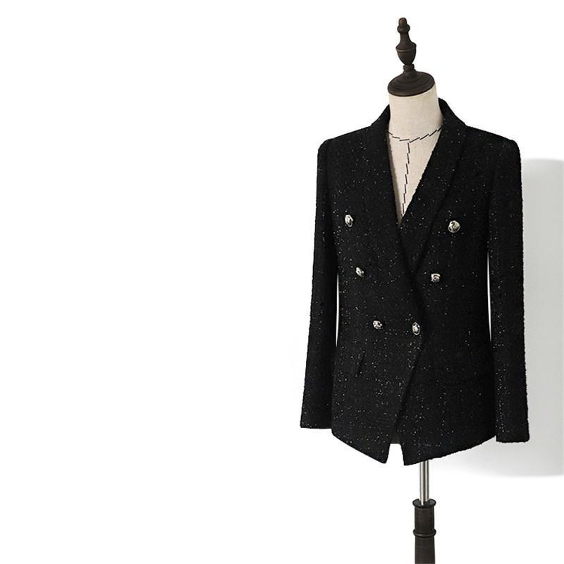 Kadınlar Vintage Özel tasarlanmış Yaka Tweed Çift Breasted Siyah Blazers Coat Giyim El yapımı lüks Blazer Suit