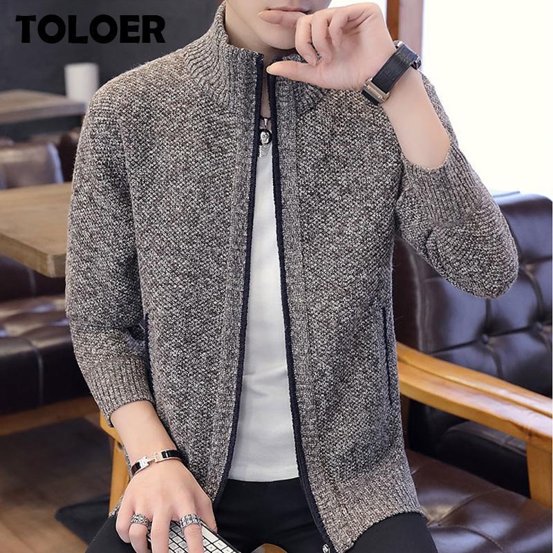 2021 Herbst Herren Pullover Casual Long Sleeves Verdickung Plus Größe Samt Warme Trendhemd Reißverschluss Strickjacke Pullover Jacke Mäntel