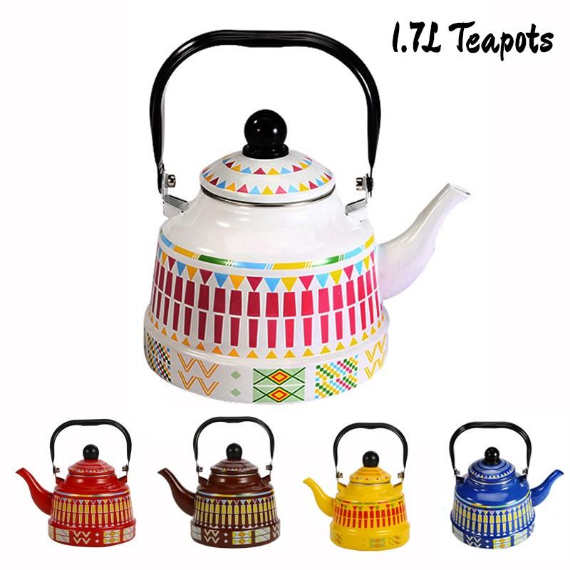 1.7L Whistling Enamel Tapot with Steel Handle Exquisite Enamelled Stovetop Kettle Traditional Bone China Teapots Luxirious Metal Jug GGD2280