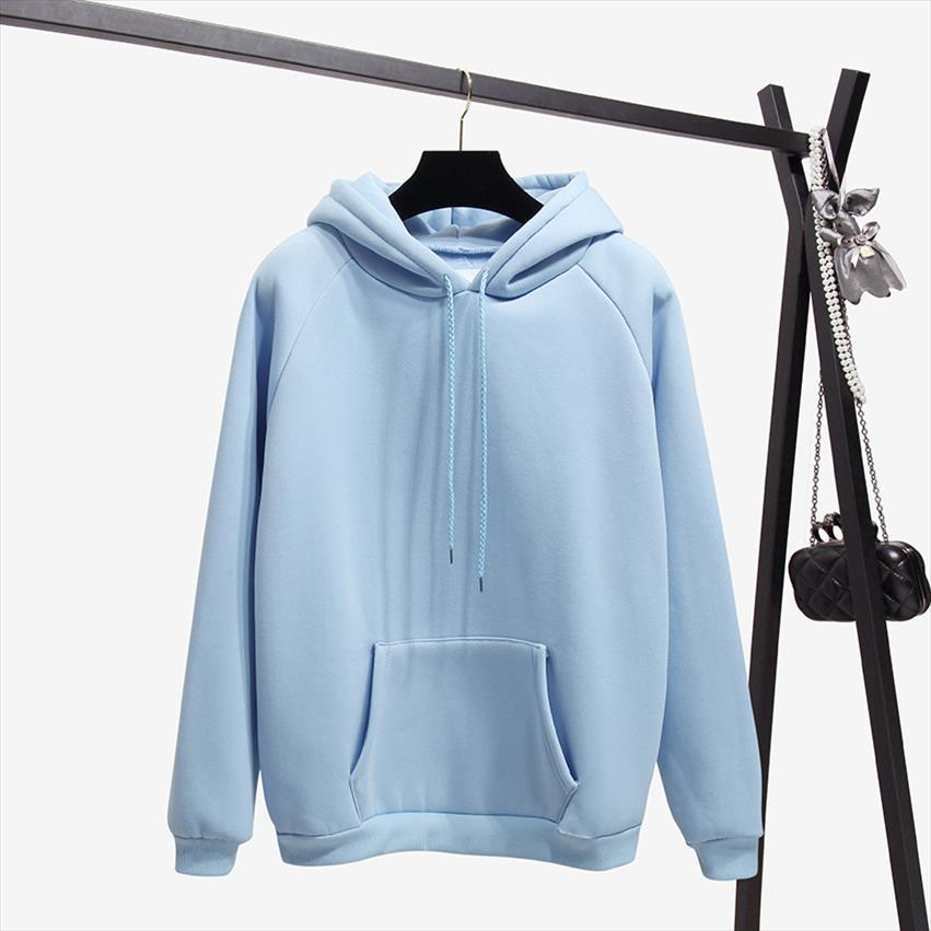 Fashion Solid Color Herbst und Winter plus Samt-lose Frauen Sweatshirt mit Kapuze Kragen-lange Hülsen-beiläufige Sky Blue Hoodie