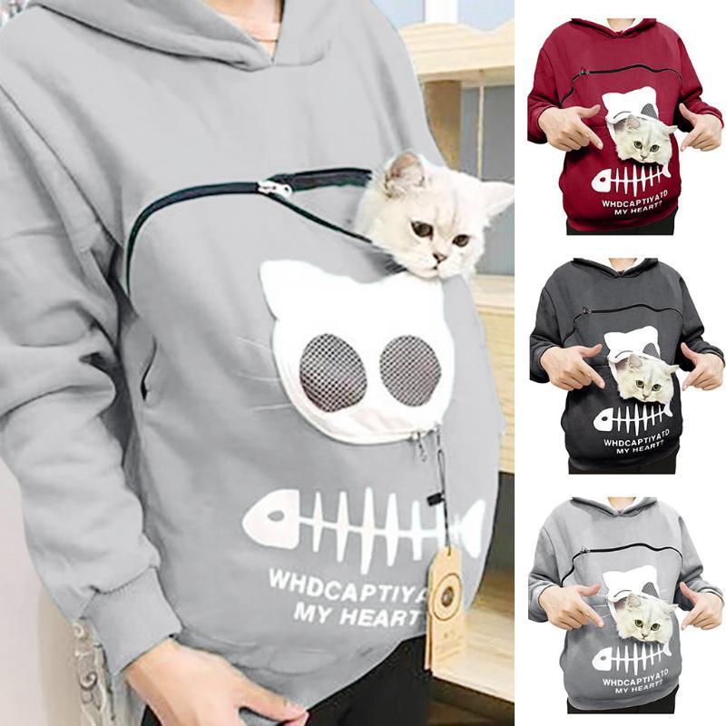 Носитель для домашних животных Утолщенные рубашки Котенка Щенок держатель животных Чехол капюшон дышащая Рождественская толстовка для детей Дам