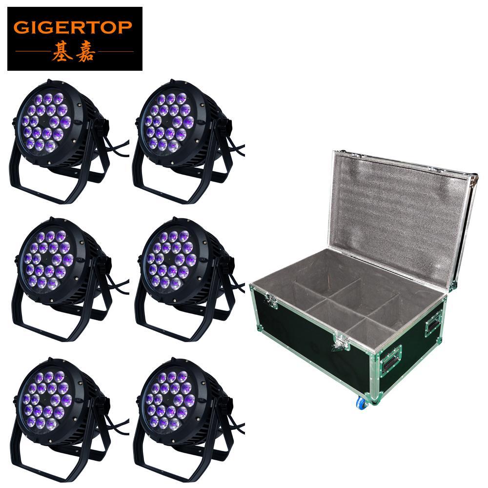 Tiptop Sahne Işık 18x18w LED DJ Par Işık RGBWAV 6in1 Par Can 64 DMX512 Disko Bar Su Geçirmez Raf Uçuş Tur Kılıfı 6in1 Paketi