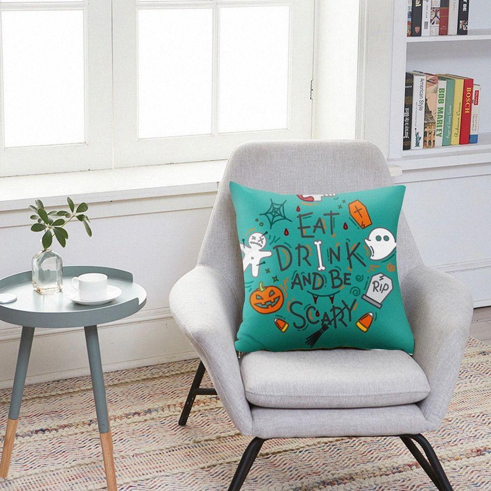 Pillow Cover 45*45 Car Halloween Cushion Cover Polyester Sofa Car Cushion Home Decor Chair Pillowcase New Vbe4#