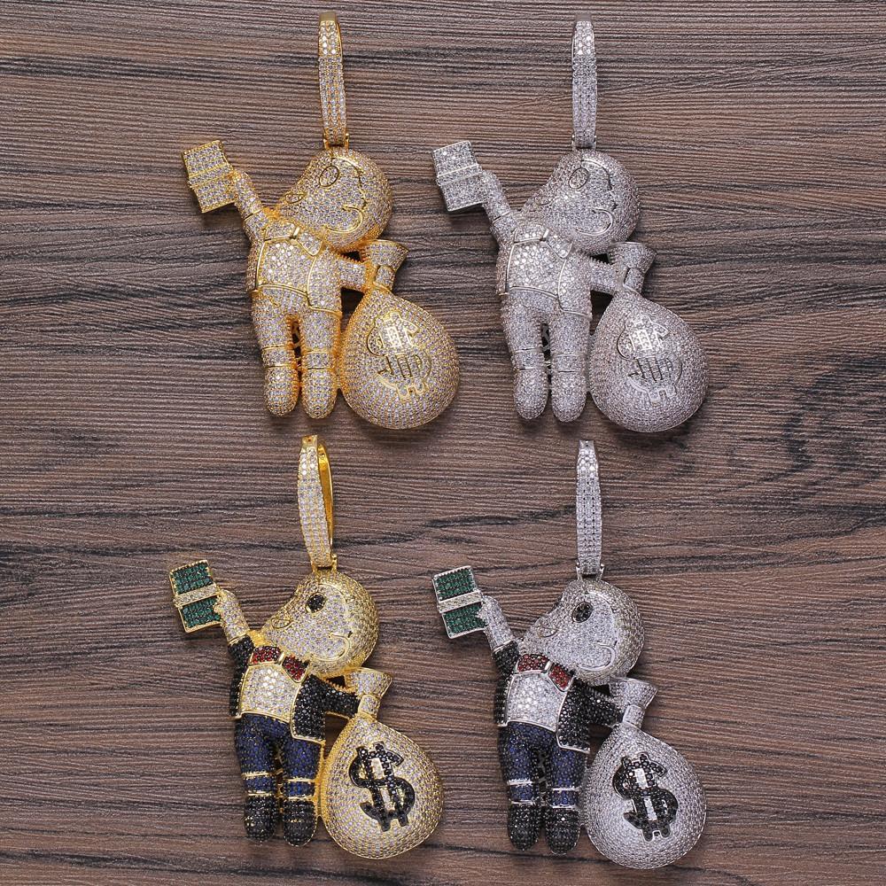 Небольшое размеры Высокое Качество Латунь CZ Камни Мультфильм Мужчины Денежные Мешок Ожерелье Хип-Хоп Кулон Ювелирные Изделия Bling Bling Cyed Out CN199 Y1220