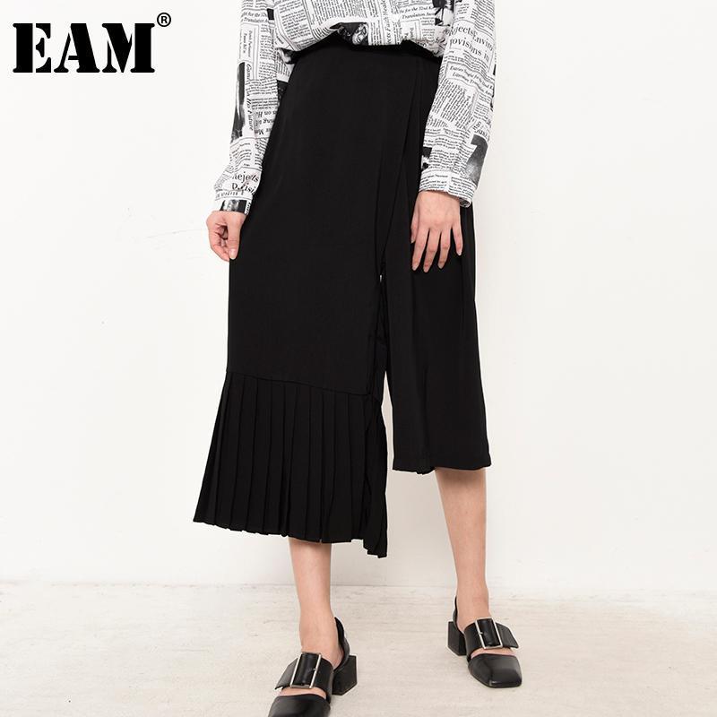 Frauen Hosen Capris [Eam] Hohe elastische Taille Schwarz BLAYED Unregelmäßige breite Beinhose Lose Fit Frauen Mode Frühling Herbst 2021 Jo26101