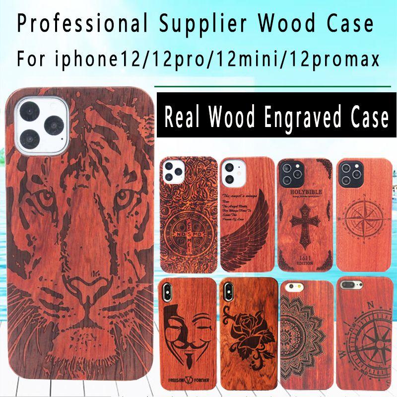 Echter holzkasten für iphone 12 pro 11 xs max xr 7 8 plus holz gravierte abdeckung stoßfest holz telefon shell bambushüllen