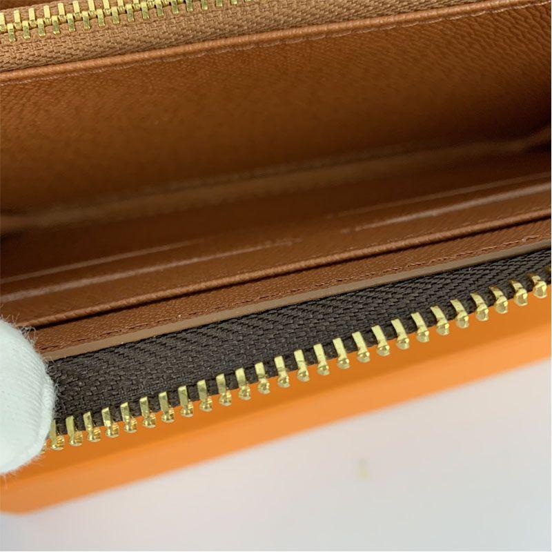 Moda Cuero 60017 Lady PU Clutch Wallet Single cremallera Cartera Cartera Naranja Larga Damas Con Mujer Caja Classica Tarjeta Polle Bqdgl