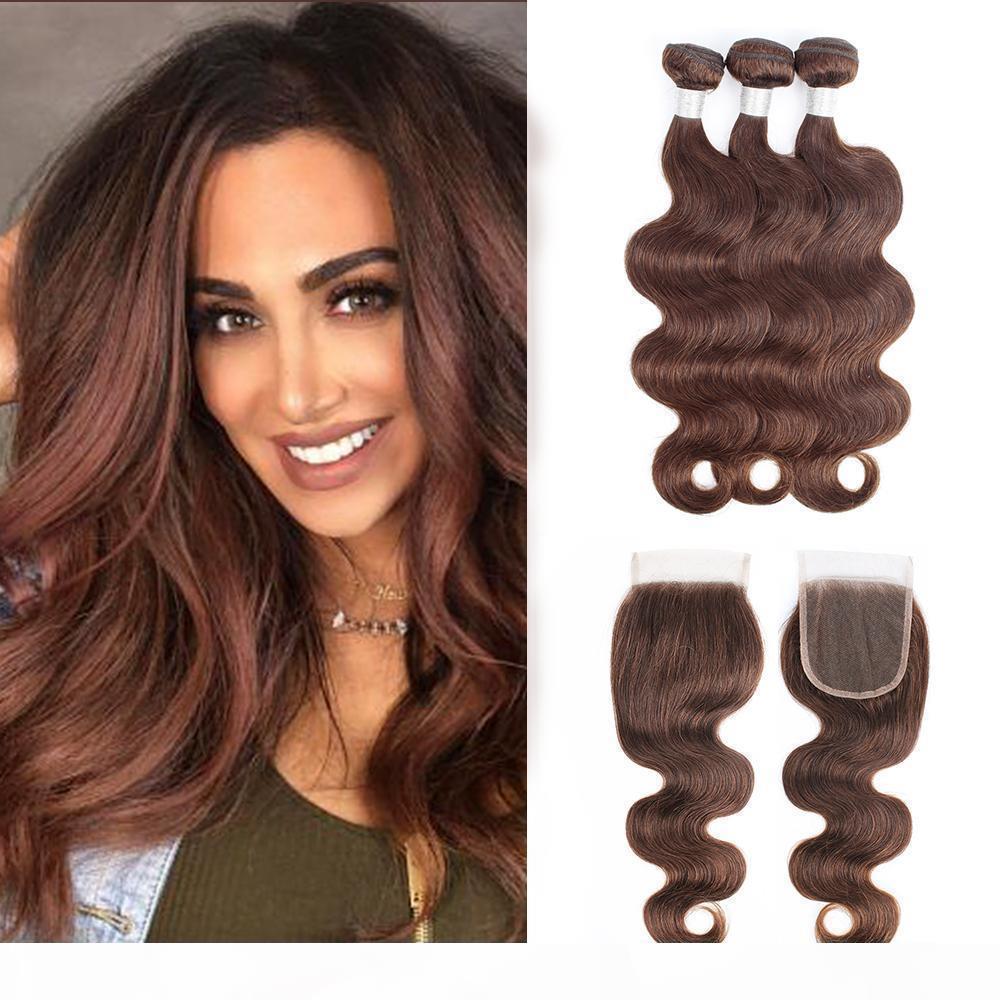 # 4 Шоколадно-коричневое тело волны пачки волос с закрытием бразильские волосы девственницы 3 пакета с 4 * 4 кружевной закрытием Remy человеческие волосики