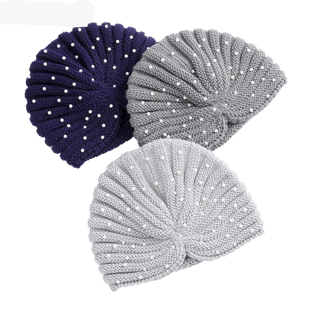 İnciler Dantelli Türban Şapka Kış Kulak Isıtıcı Örme Katı Bandanalar Örme El Yapımı Kafa Wrap Caps Baş Bantları