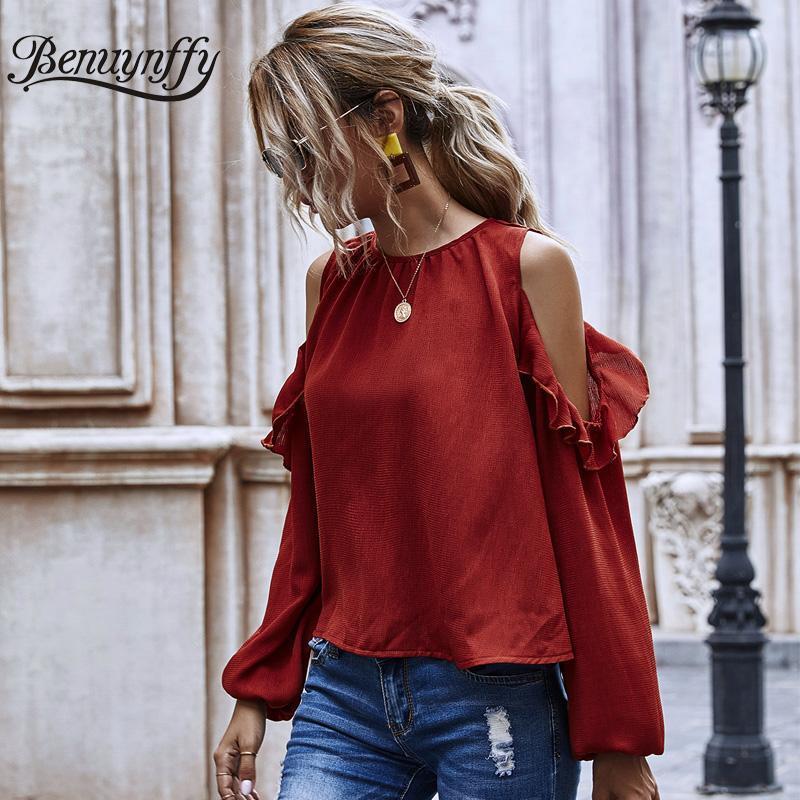 Blusas de mujer Camisas Benuynffy volante Hombro frío Señoras Tops y 2021 Otoño Mujer Moda O-Cuello Manga larga Flojo Sólido Casual Blou