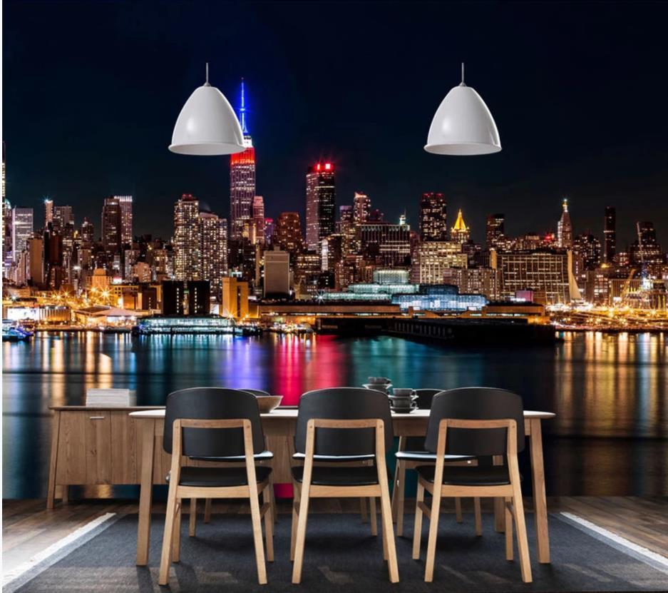 Город ночью зарево заката HD настенная ТВ фоне стены современные обои для гостиной