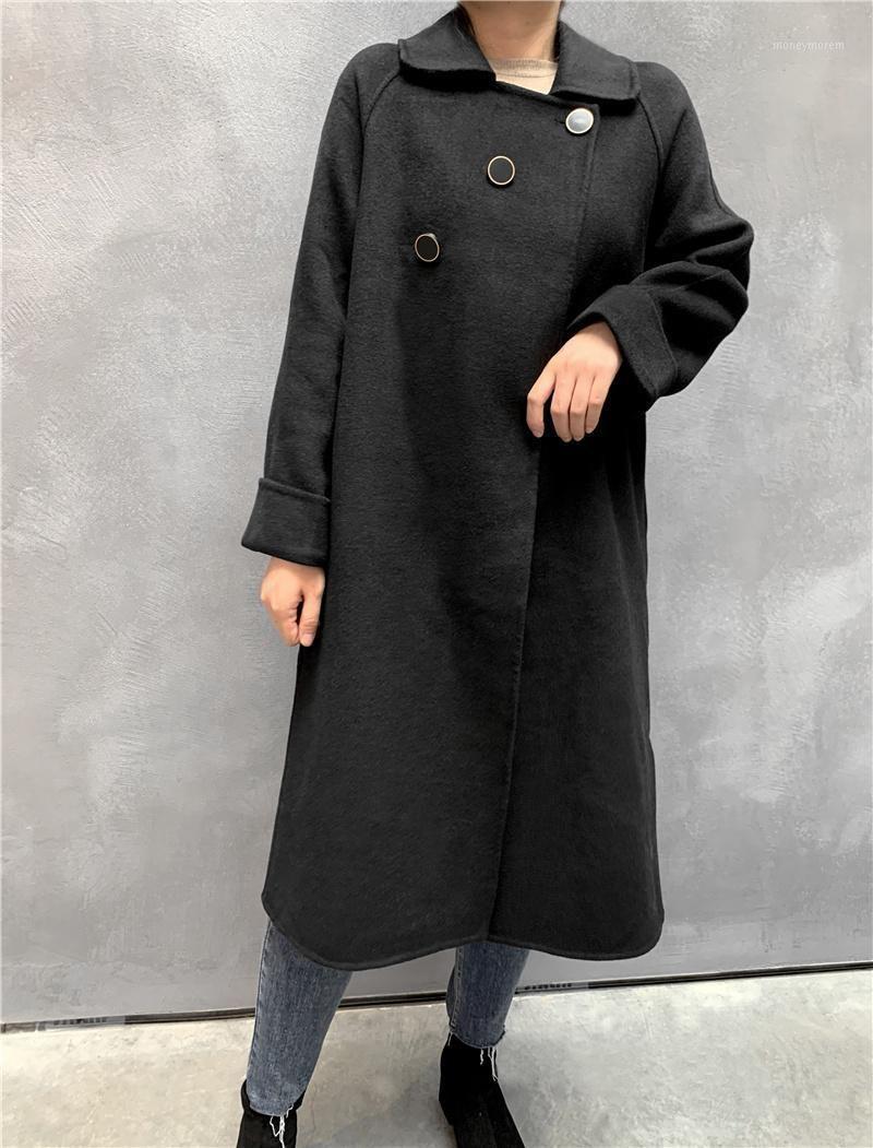 Abrigo de doble cara de alta gama de cachemira de doble cara invierno capa de lana negra de invierno hasta la rodilla coreana sobre la chaqueta espesada de la solapa1