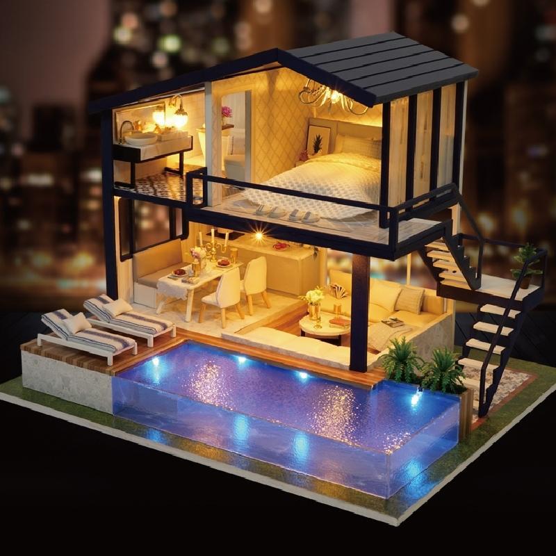 Casa de muñecas Muebles de madera DIY CASA MINIATURA CAJA MINIATURA Rompecabezas Miniatura 3D Miniaturas Casa de muñecas Juguetes para el Tiempo de Regalo Apartamento Y200413